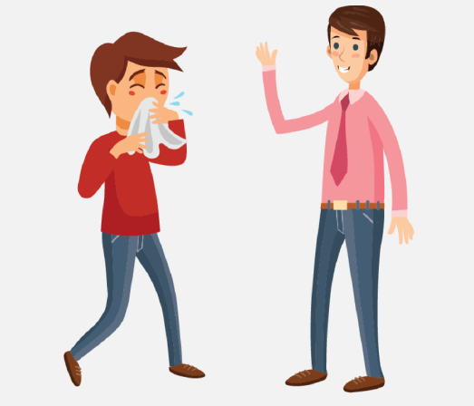 A sick boy coughing into a tissue is shown to the left of a man.