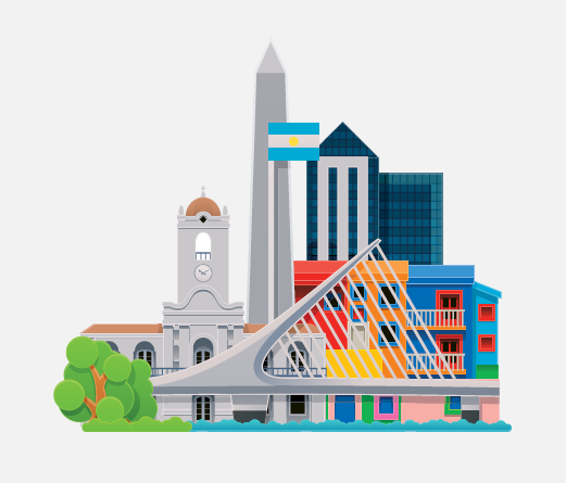 A cartoon rendering of a city.