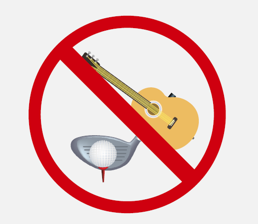 A guitar and golf club and ball inside a red circle with line across it.