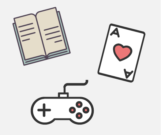 A book, a playing card, and a game controller.