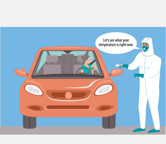 A healthcare worker wearing a protective suit says to a woman in a red car,