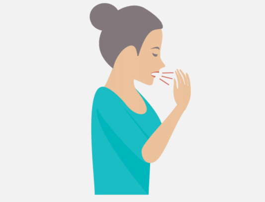 A woman shown coughing from the side.