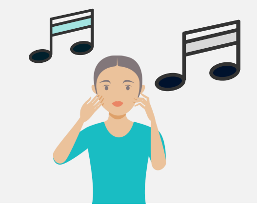 A woman is shown below two music notes.