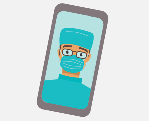 A cell phone with an image of a doctor.