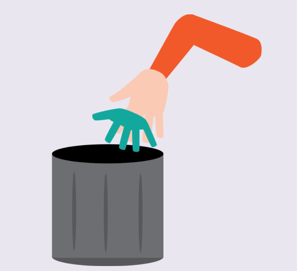 A hand tossing a used glove in a trash can.