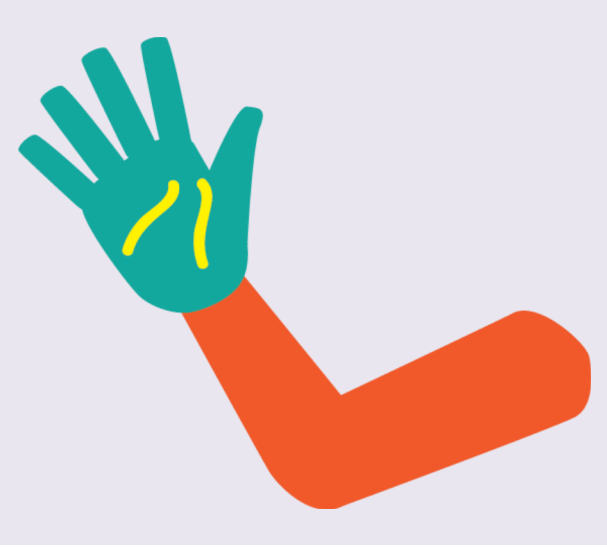 A hand wearing a glove with two yellow lines on the palm.
