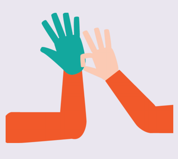 A person's right hand pulls a glove onto their left hand using two fingers.