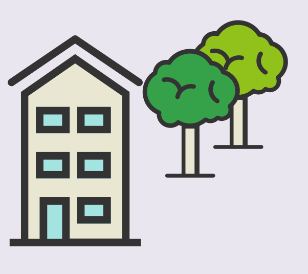 A cartoon rendering of a house and two trees.