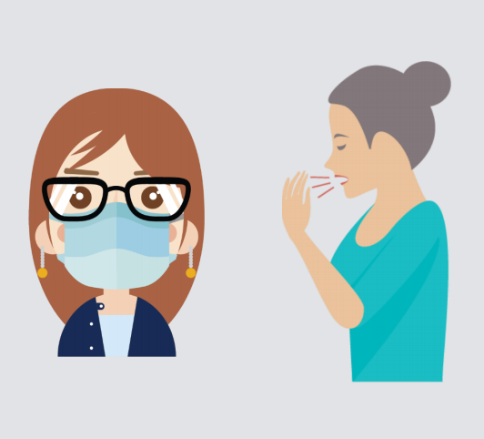 A woman wearing a mask is shown to the left of another woman coughing.