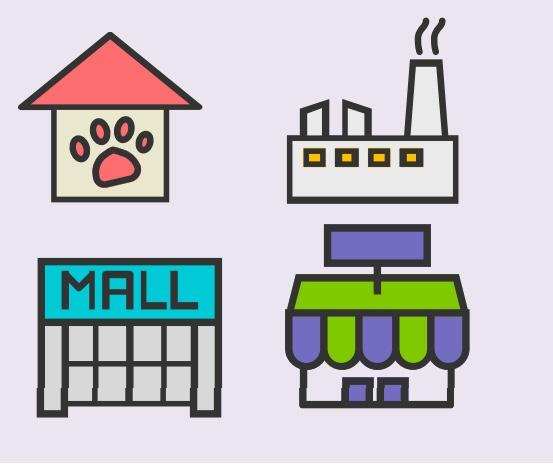 A cartoon rendering of four buildings.