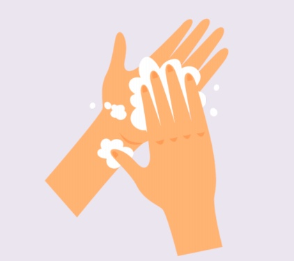Two hands with soap.