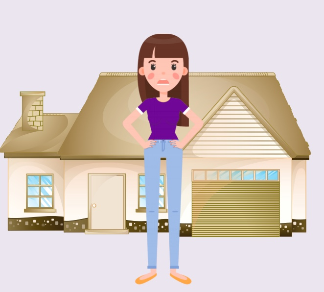 A girl standing in front of a house.