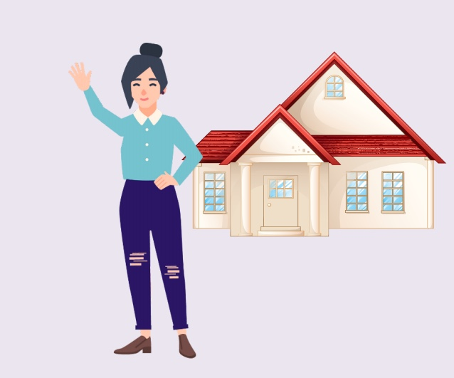 A woman waving in front of a house.