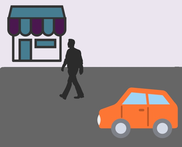 A car sitting in front of a store while a man walks into the store.