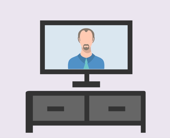 A television screen with a man on it.