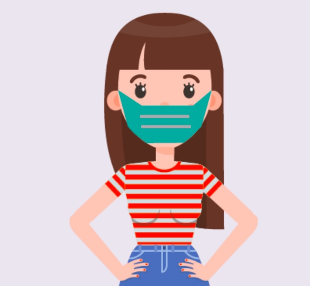 A girl wearing a mask.