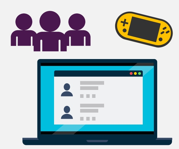 3 cartoon people, a video game controller, and a laptop.