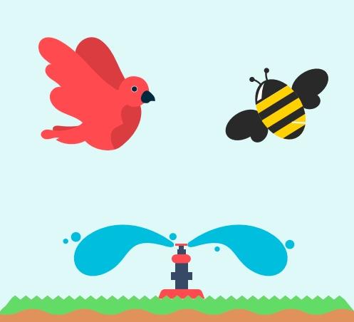 A sprinkler below a bird and a bee.