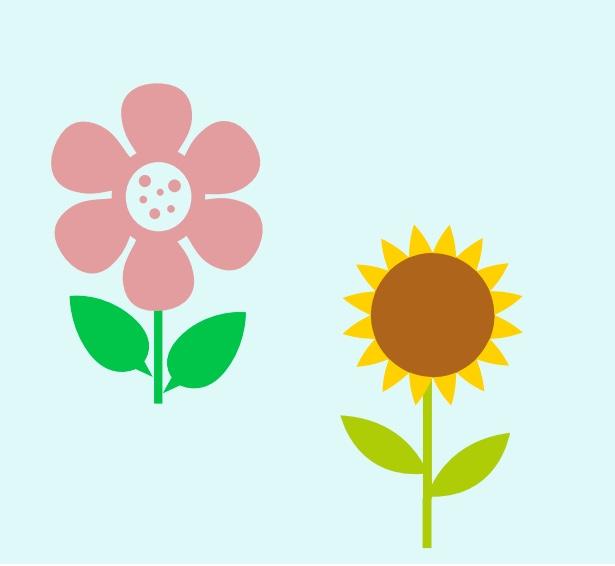 A daisy and a sunflower.