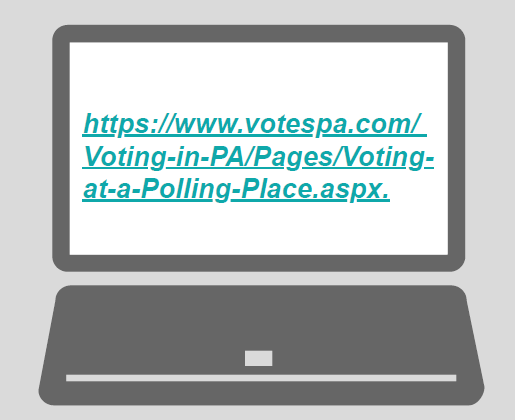 A laptop with the URL 'https://www.votespa.com/Voting-in-PA/Pages/Voting-at-a-Polling-Place.aspx'