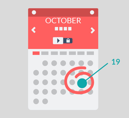 A calendar with the date October 19th circled and an arrow pointing to it.