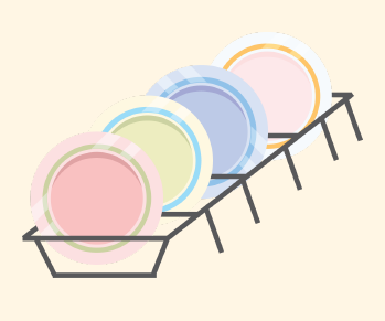 Clean dishes are put on a drying rack.