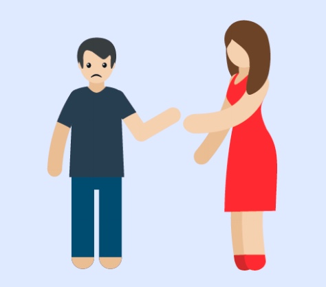 A woman reaching her arm out to a man.