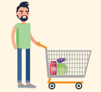 A man pushes his shopping cart, which has a few items in it