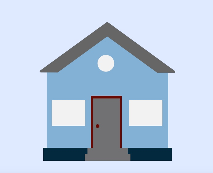 A cartoon rendering of a house.