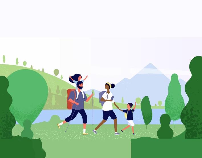 A family walking through a park.