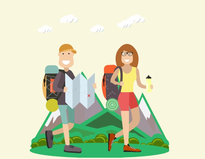 A man and a woman walking with backpacks.