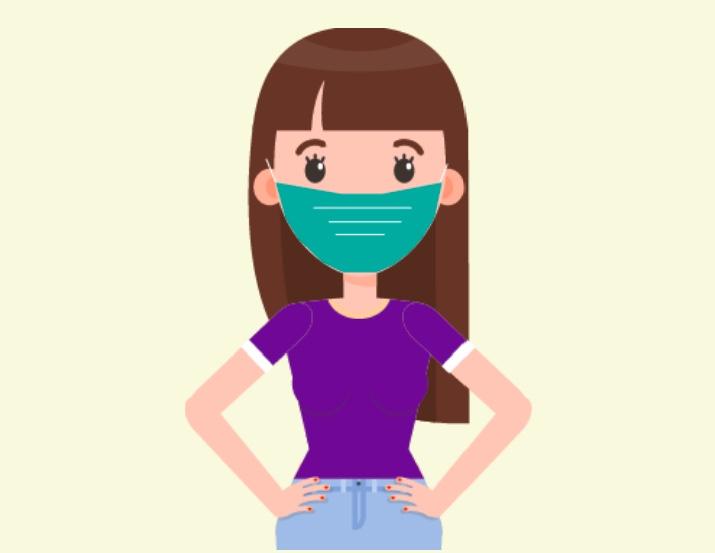 A woman wearing a mask.