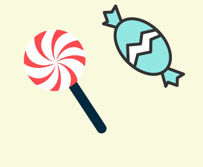 A lollipop and a hard candy.
